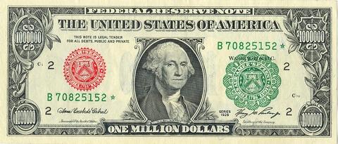 Mặt trước của tờ 1 triệu đôla thoạt nhìn không khác gì tờ 1 đôla.
